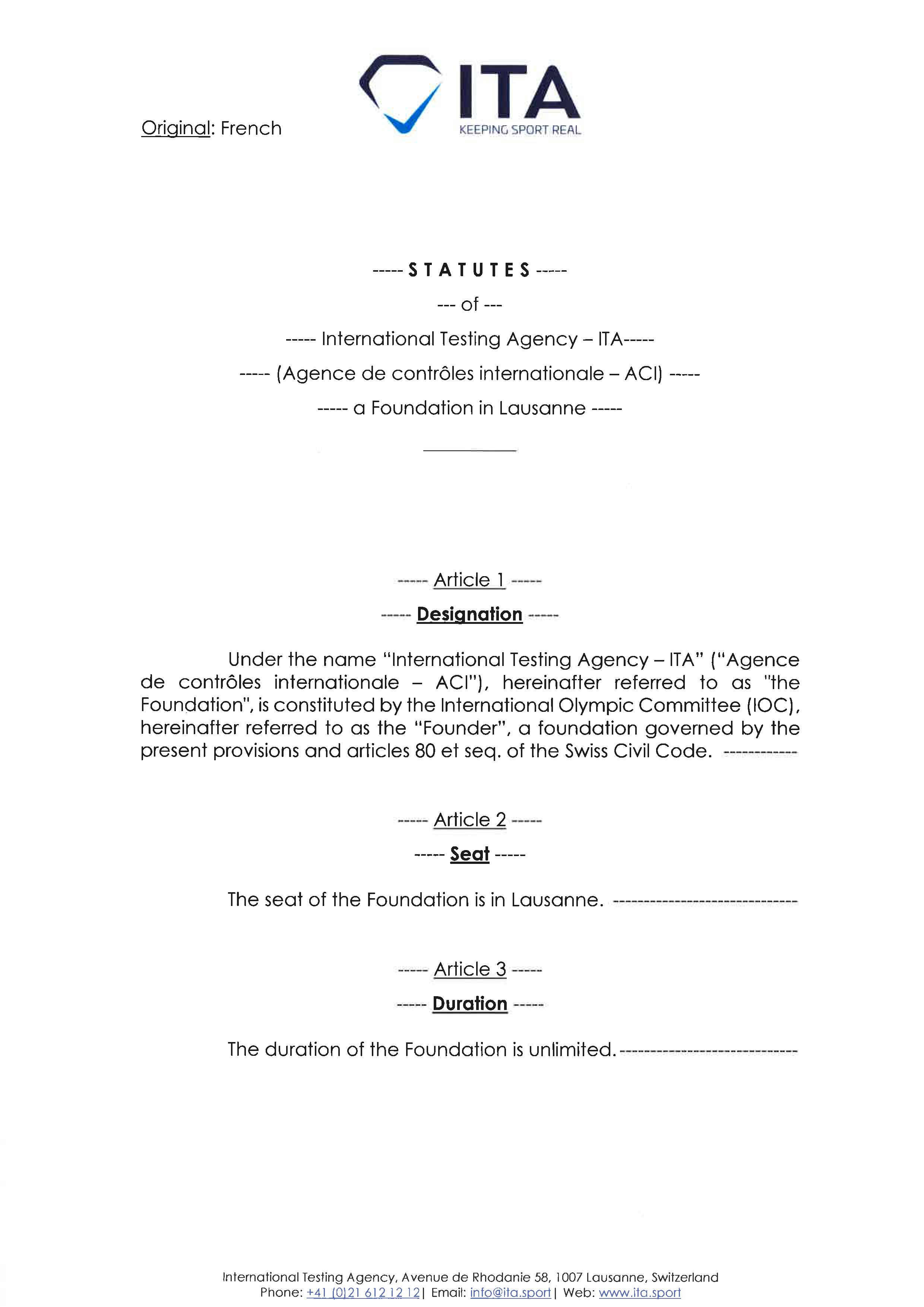 ITA Statutes