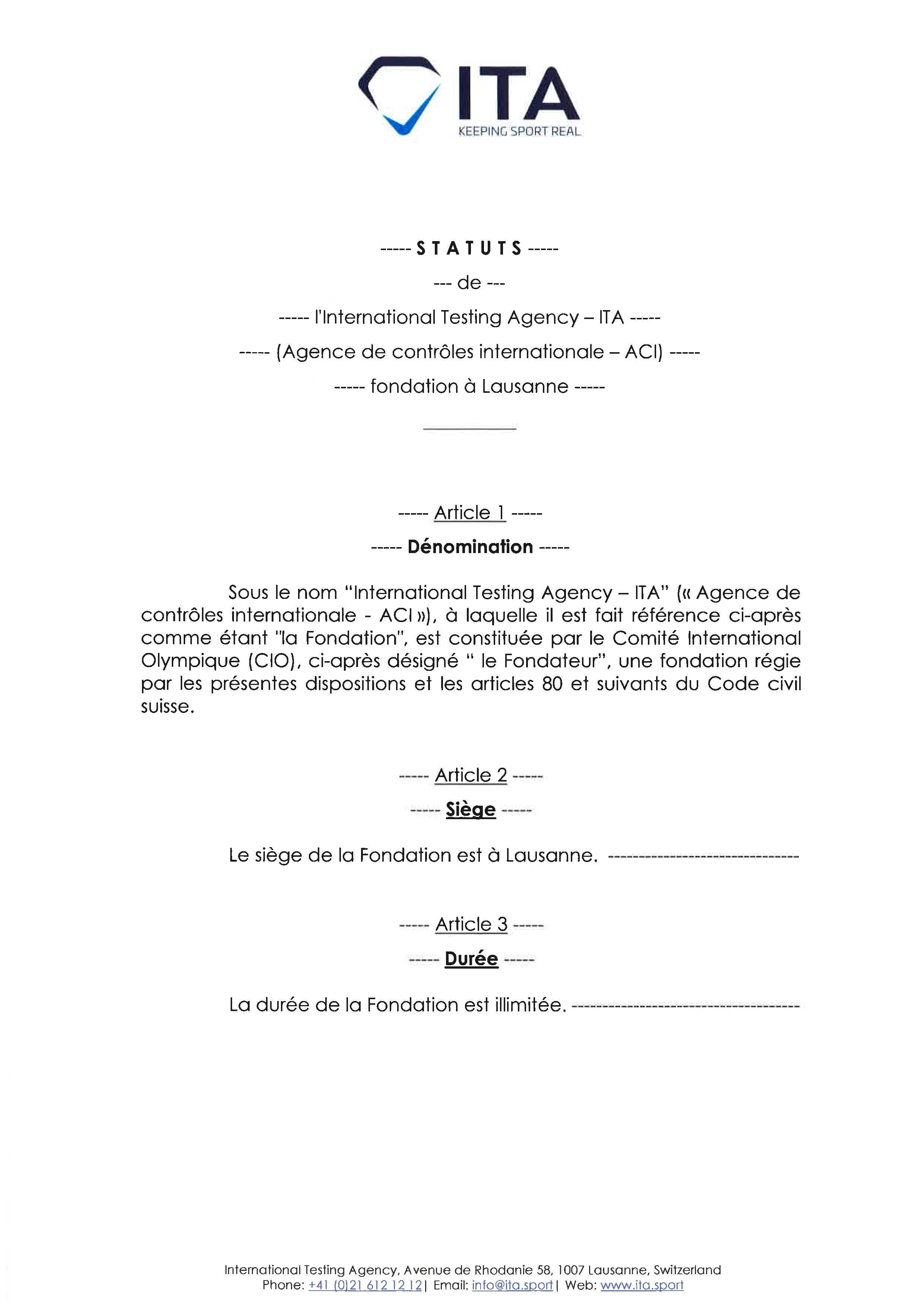 Statuts de l'ITA