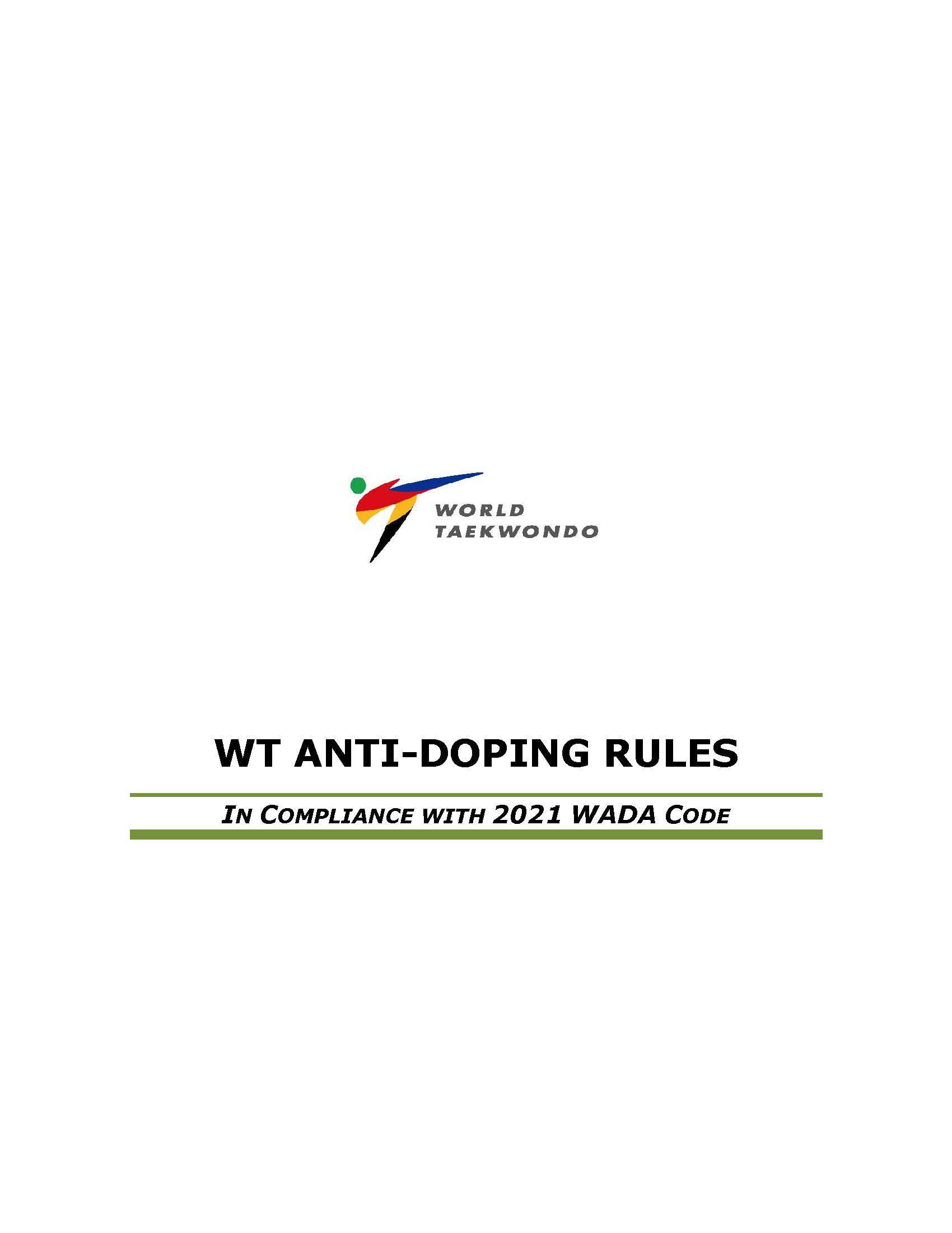 World Taekwondo (WT) Anti-Doping Rules