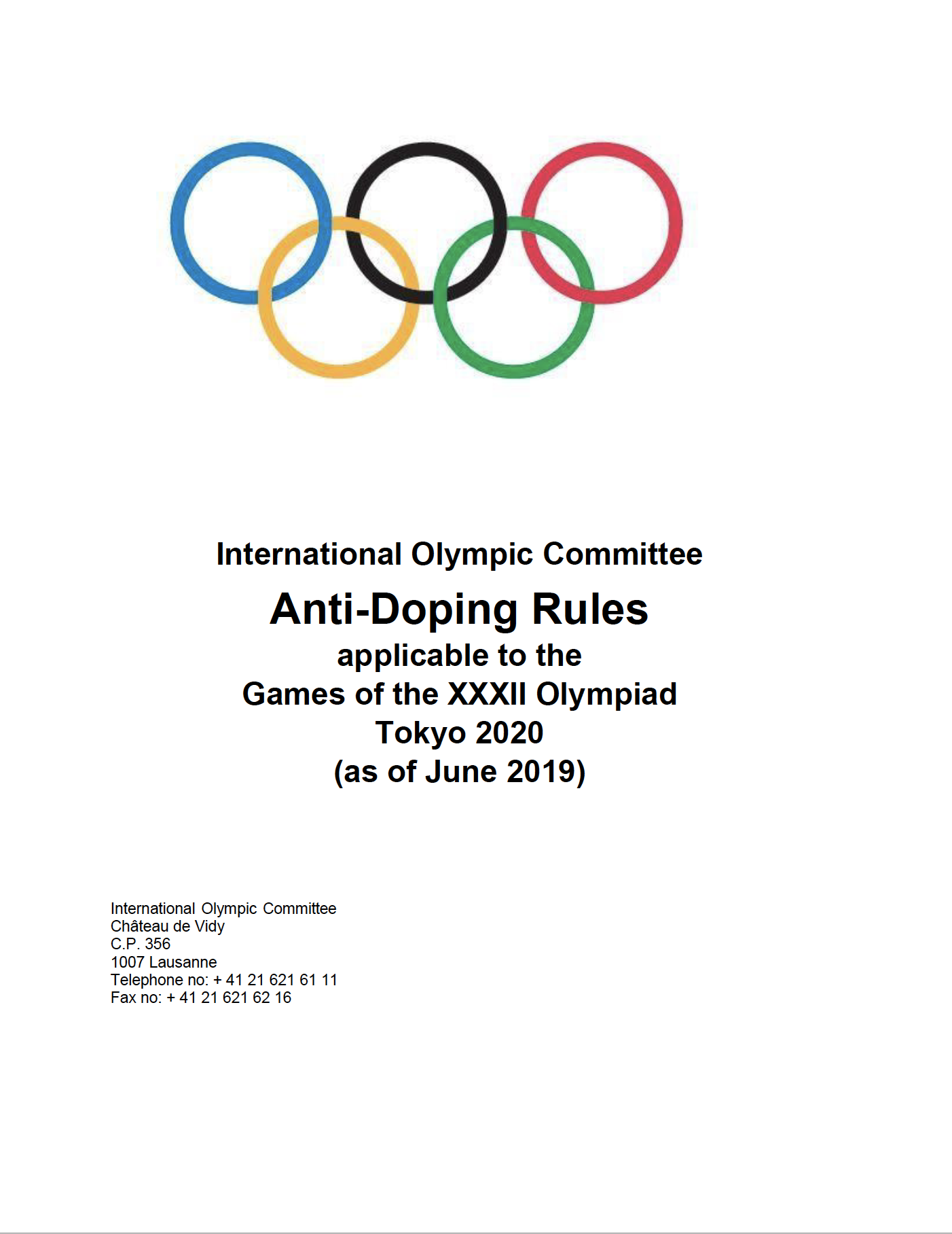 Tokyo 2020 Anti-Doping Rules