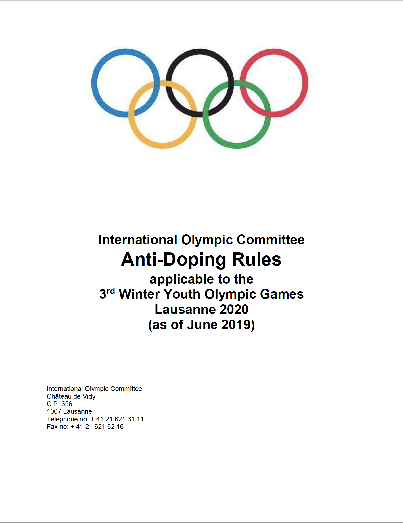 Lausanne 2020 Anti-Doping Rules