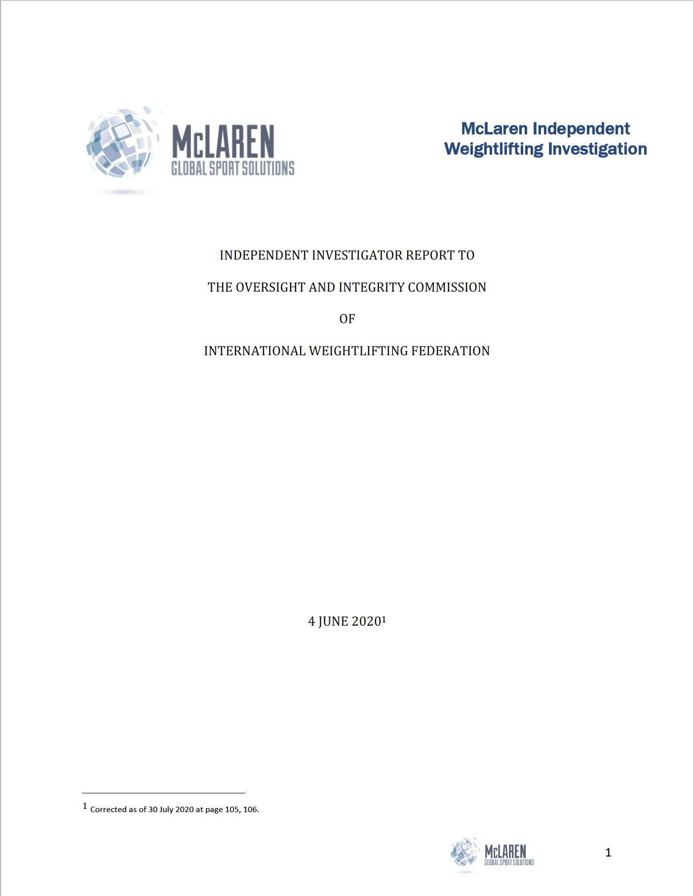 McLaren: Independent investigator report to the oversight and integrity commission of the International Weightlifting Federation