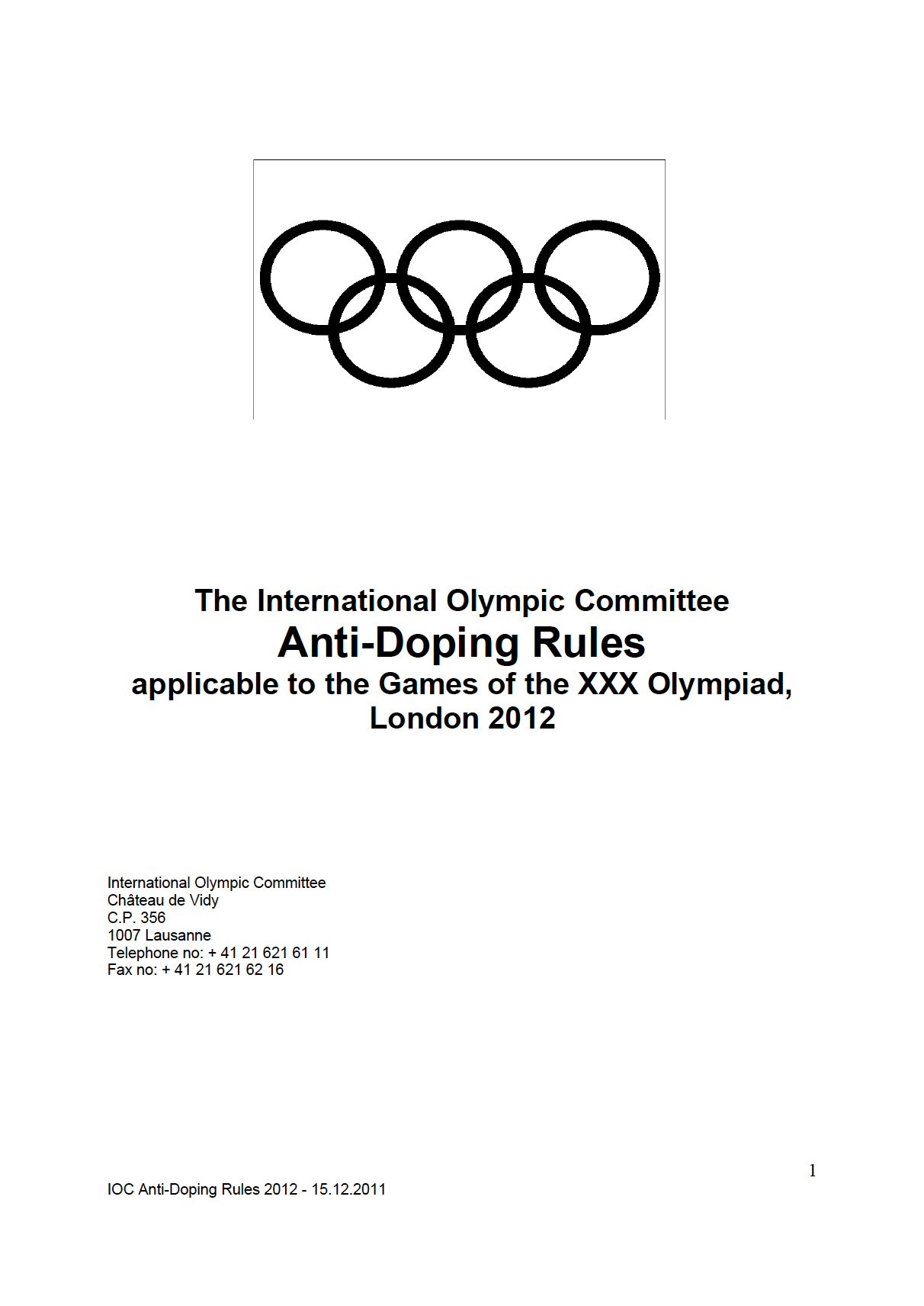 London 2012 Anti-Doping Rules