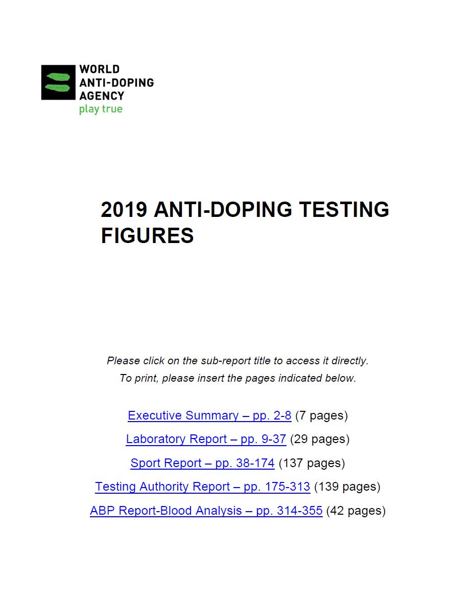 WADA 2019 Anti-Doping Testing Figures