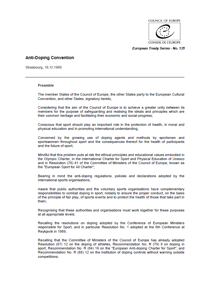 Council of Europe - Anti-Doping Convention