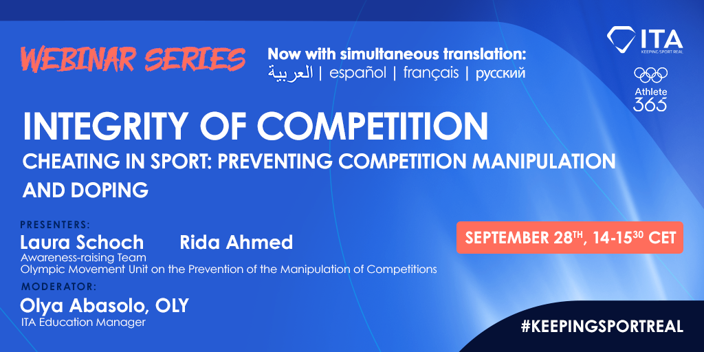ITA webinar - Integrity of Competition - Cheating in sport: preventing competition manipulation and doping